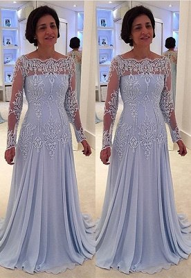 A-line Long-Sleeve Lace Elegant Mother-the-bride Dress_2