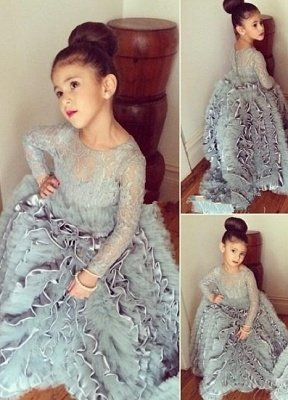 Lovely  Lace Long Sleeves Tiers Long Stunning Flower Girls Dresses_1
