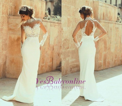 Glamorous Column High-Neck  See Through Open Back Lace Wedding Dresses_1