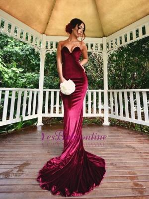 Sexy Burgundy Mermaid Prom dresses Velvet Simple Formal Dresses_4