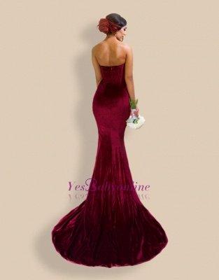 Sexy Burgundy Mermaid Prom dresses Velvet Simple Formal Dresses_3