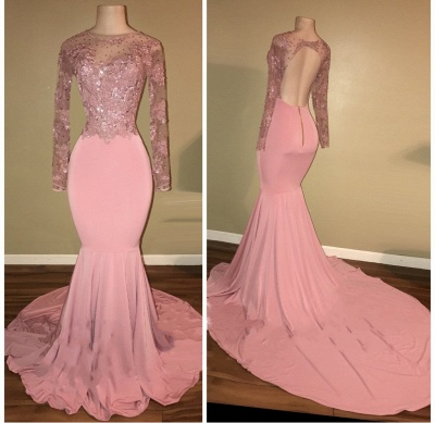 Mermaid Shiny Backless Beaded Long-Sleeves Pink Prom Dresses_3