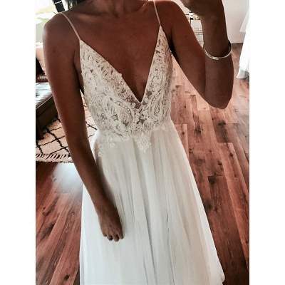Sexy A-Line V-Neck Wedding Dresses | Tulle Spaghetti-Strap Slit Bridal Gowns_5