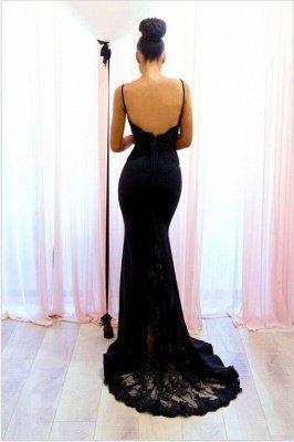 Spaghetti-Straps Sexy Lace Mermaid Black Evening Dress_3