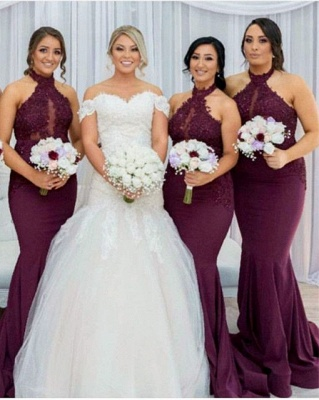 Gorgeous Lace Bridesmaid Dresses   Mermaid Halter Maids Of Honor Dresses_1