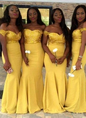 Elegant Off-the-Shoulder Wedding Party Dresses | Mermaid Yellow Bridesmaid Dresses_1