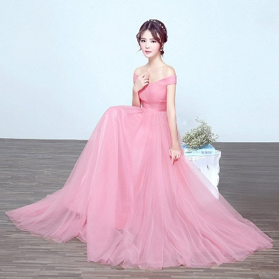 Elegant A-Line Ruched Bridesmaid Dresse | Off-The-Shoulder Tulle Wedding Party Dresses_5
