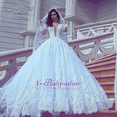 Long Sleeves Lace Ball-Gown Stylish Court-Train V-neck Wedding Dress_1