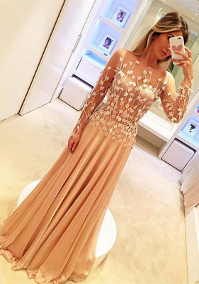 Appliques Long-Sleeve Glamorous Long Prom Dresses_2