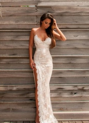 Sweetheart Side-Slit Spaghettis Lace Sheath Straps Evening Gowns BA3397_2
