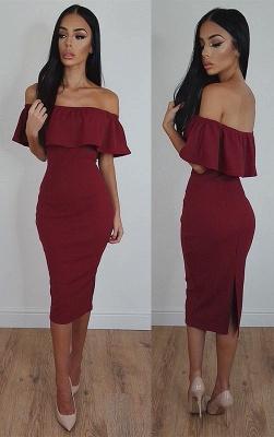 Sexy Bodycon Tea-Length Burgundy Off-Shoulder Prom Dress_2