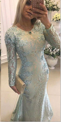 Crew Sweep-train Long Sleeves Lace Beads Appliques Mermaid Prom Dresses_1