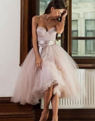 Tulle A-line Ankle-length Sweetheart Sashes Bridemaid Dress_3