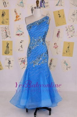 Sleeveless Crystal Sexy Long One-Shoulder Mermaid Evening Gowns_1