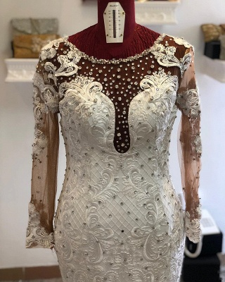 Jewel Long Sleeve Crystal Lace Mermaid Fitted Wedding Dresses_3