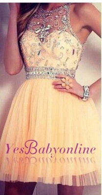 2019 tulle dresses homecoming sleeveless cyristal round neck short/mini prom dresses_4