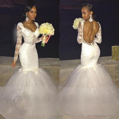 Backless Long-Sleeves Lace Sexy Mermaid Wedding Dress_3