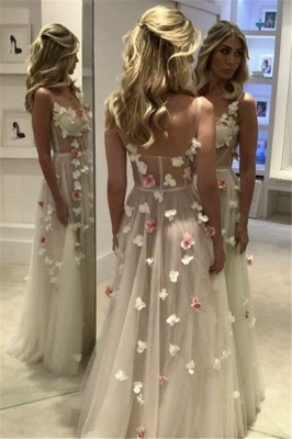 A-Line Flower Sleeveless Prom Dresses | Chic Spaghettis-Straps Evening Dresses_4