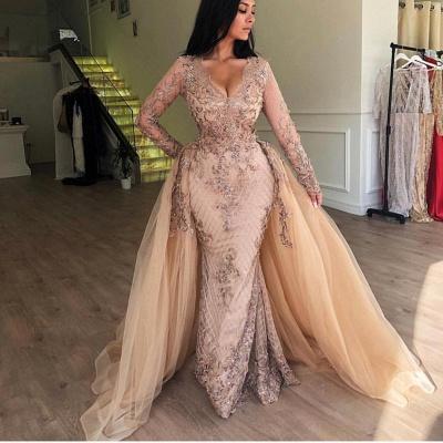 Elegant V-Neck Long Sleeves  Prom Dress |  Mermaid Applqiues Evening Dress with Detachable Skirt_4
