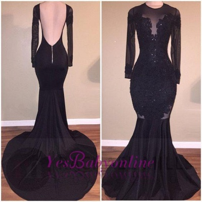 Long-Sleeves Backless Black Mermaid Appliques Sexy Prom Dress_1