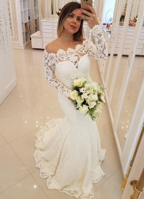 Glamorous Mermaid Lace Wedding Dresses | Off-the-Shoulder Long Sleeves Bridal Gowns_1