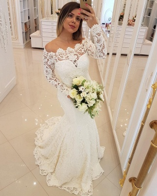 Glamorous Mermaid Lace Wedding Dresses | Off-the-Shoulder Long Sleeves Bridal Gowns_3