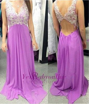 Applique  Long A-Line Empire Sleeveless V-Neck Prom Dresses_1