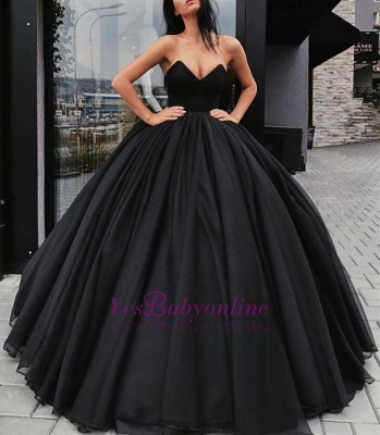Sweetheart Sleeveless Ball-Gown Black Sexy Prom Dresses_1
