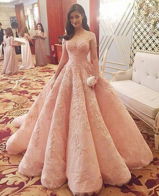Jewel Cap Sleeve Applique Pearls Ruffles Ball Gown Wedding Dresses_2