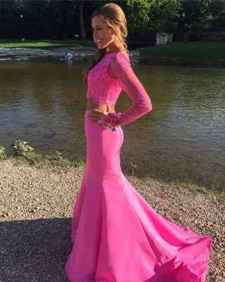 Two-Piece Mermaid Cute Long-sleeve Lace Prom Dress_3