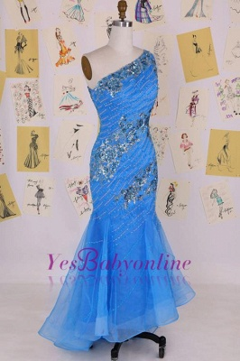 Sleeveless Crystal Sexy Long One-Shoulder Mermaid Evening Gowns_3