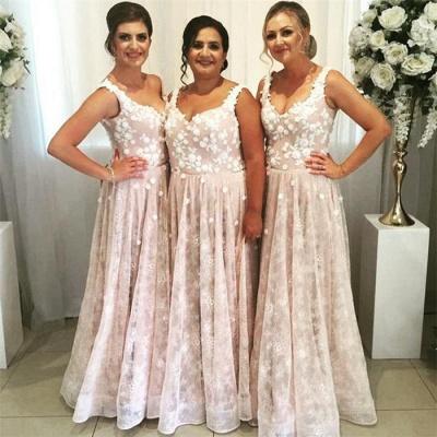 Gorgeous Straps Lace Long Bridesmaid Dresses | Elegant Wedding Guest Dresses_3