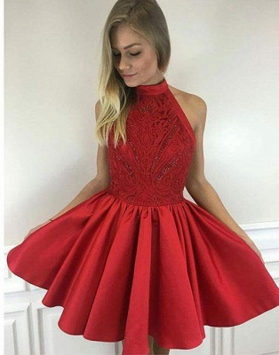 Cute A-line Short High-neck Red Beading Cocktail Dress_2