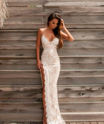 Sweetheart Side-Slit Spaghettis Lace Sheath Straps Evening Gowns BA3397_4