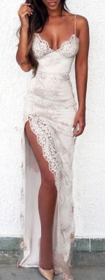 Sweetheart Side-Slit Spaghettis Lace Sheath Straps Evening Gowns BA3397_3