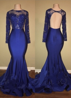 Beaded Long-Sleeves Ruffles-Skirt Royal-Blue Mermaid Prom Dresses_2