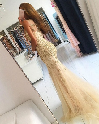 Mermaid Newest Zipper Beads Sleeveless Prom Dress_3