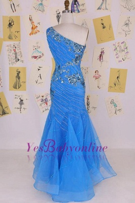Sleeveless Crystal Sexy Long One-Shoulder Mermaid Evening Gowns_2