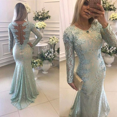 Crew Sweep-train Long Sleeves Lace Beads Appliques Mermaid Prom Dresses_3