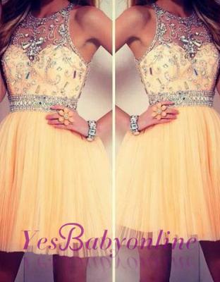 2019 tulle dresses homecoming sleeveless cyristal round neck short/mini prom dresses_1