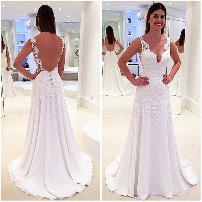 Glamorous A-Line V-Neck Wedding Dresses | Backless Lace-Appliques Bridal Gowns_3