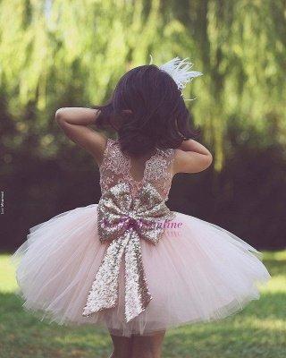 Flower Scoop Tutu  Lace-Applique Pink Girls Dresses_1