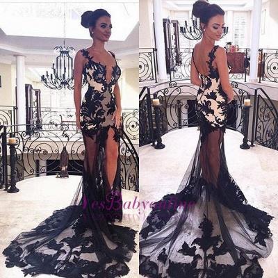 Sexy Spaghetti Straps Mermaid V-Neck Black Prom Dresses_1