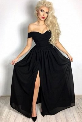 Simple Sexy Black Prom Dresses Cheap | Off The Shoulder Front Slit Evening Dresses_1