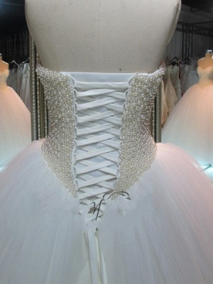Glamorous Princess Tulle Pearls Ball-Gown Sweetheart Wedding Dress_3