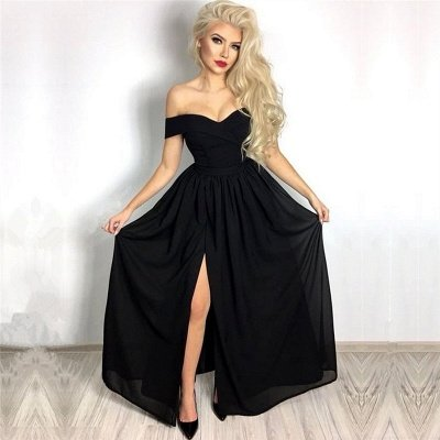 Simple Sexy Black Prom Dresses Cheap | Off The Shoulder Front Slit Evening Dresses_3