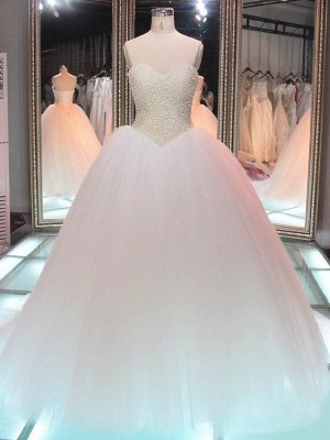 Glamorous Princess Tulle Pearls Ball-Gown Sweetheart Wedding Dress_2