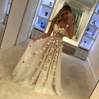 A-Line Flower Sleeveless Prom Dresses   Chic Spaghettis-Straps Evening Dresses_3