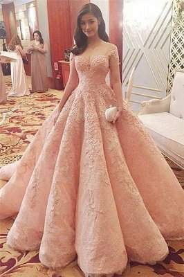 Jewel Cap Sleeve Applique Pearls Ruffles Ball Gown Wedding Dresses_1