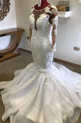 Jewel Long Sleeve Crystal Lace Mermaid Fitted Wedding Dresses_1